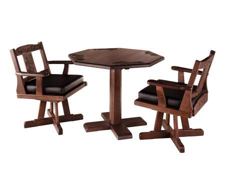 八角テーブル・回転椅子セット 桜・葡萄