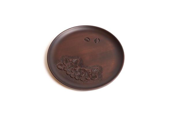7寸丸盆  (三連桜) 桜